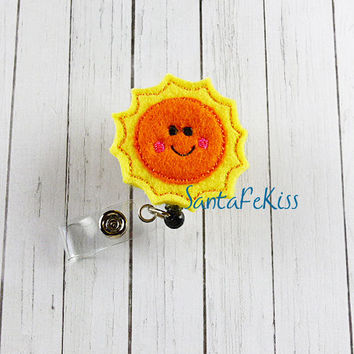 Yellow and Orange Smiling Sun ID Badge - Embroidered Felt Badge Reel - Retractable ID Badge Holder - Badge Reel Clip - Medical Badge