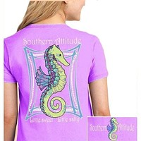 Southern Attitude Preppy Classy Pearls Seahorse Orchid T-Shirt