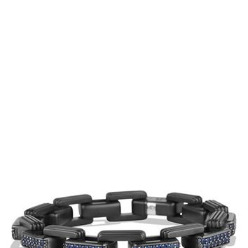 Men's David Yurman 'Royal Cord' Link Bracelet with Sapphires & Titanium - Sapphire