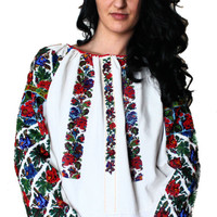Vintage Bohemian Ukrainian Beaded Blouse,Peasant Embroidered Blouse,Ethnic Costume Blouse Hand Beaded Flower Pattern