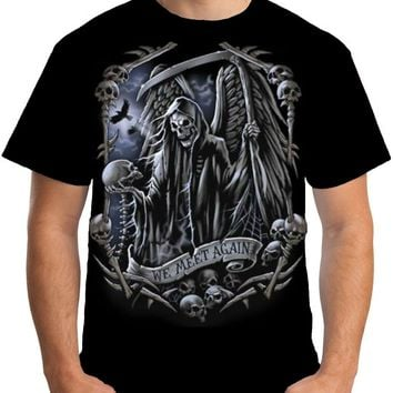 We Meet Again T Shirt Skeleton Goth Grim Reaper Death Mens Short Sleeve