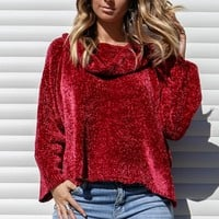 Loving You Chenille Wine Knit Sweater
