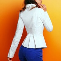 Ruched-back Jacket in Stretch Cotton
