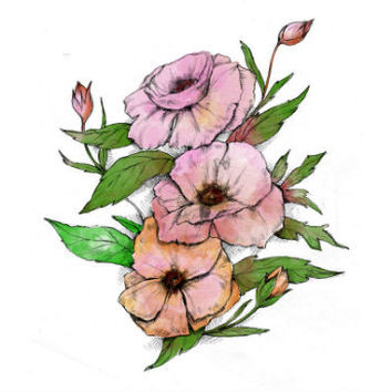 Pink, Vintage, Watercolor, Bohemian Flower Tattoo Set