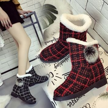 Hot Deal On Sale Height Increase Winter Stylish Plaid Boots [47583592455]