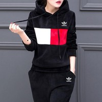 """Adidas"" Women Casual Fashion Velvet Multicolor Long Sleeve Hooded Sweater Trousers Set Two-Piece Sportswear"