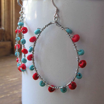 Red and Turquoise Wire Wrapped Teardrop by FantasyBeadDesigns