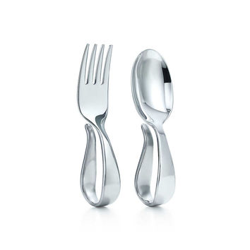 Tiffany & Co. -  Loop fork and spoon baby set in sterling silver.