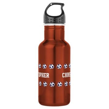 Water Bottle, Personalized, Soccer, Orange Stainless Steel Water Bottle