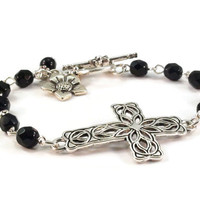 Sideways Cross Bracelet Black Beaded Jewelry