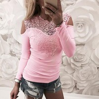 Pink Lace Stitching Strapless Top