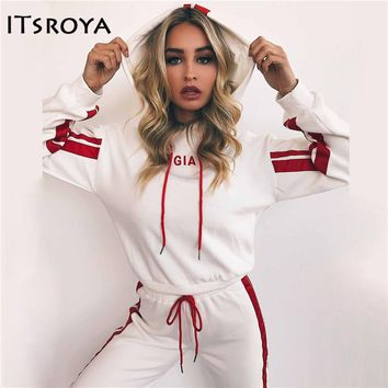 Itsroya 2018 Spring New Women Sportwear Set Lovely White Red Hooded Set Hot Sweatshirt And Pants Running Sport Clothes