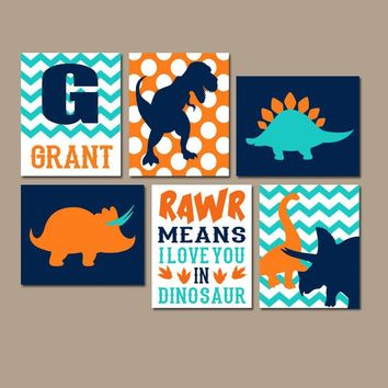 DINOSAUR WALL ART, Dinosaur Theme Decor, Canvas or Prints, Rawr Means I Love You, Baby Nursery Decor, Big Boy Bedroom Pictures, Set of 6