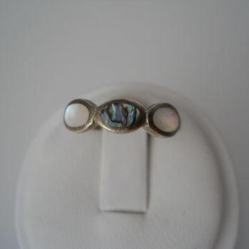 Sterling Silver 925 MOP Abalone Inlay Ring Size 6.5 Mother Of Pearl MC 925