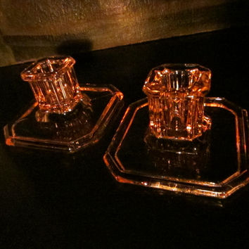 Tiffin Rosy Glass Candle Holders