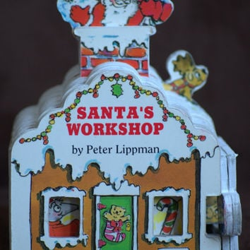 Vintage Chunky Book Santa's Workshop Board Book for Toddlers by Peter Lippman 1993