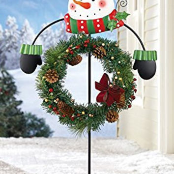 Snowman Winter Holiday Greeter Wreath Garden Yard Stake Holder