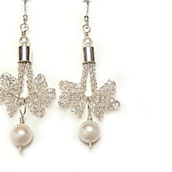 White Pearl earrings Christmas Angel Bridal Wedding Wirework Handmade Israeli jewelry