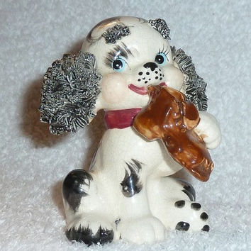 Vintage Lefton Spaghetti Poodle Dog Puppy with Shoe Figurine Cute Blue Eyes 1950s CUTE