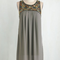 Vintage Inspired Mid-length Sleeveless Shift Truth Bead Told Dress by ModCloth