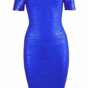 Royal Blue Off Shoulder Foil Print Bandage Dress