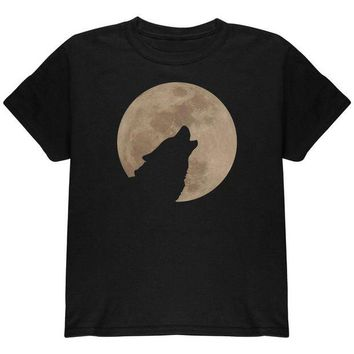 DCCKJY1 Wolf Howling Moon Silhouette Youth T Shirt