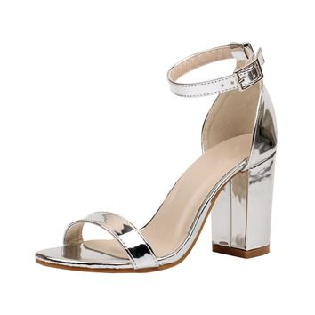 Summer Sexy Women Sandals Casual Shoes Woman Simple Patent Leather Ankle Strap Block High Heel Pumps Wedding Dress Shoes Silver