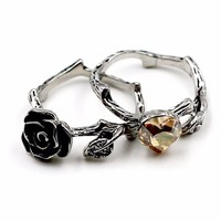 Rose and love shape crystal Ring