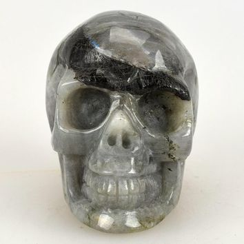 Skull Skulls Halloween Fall 3.0'' Natural Labradorite Carved Crystal ,Collection of statues, home decor,Crystal Healing,crystal  Sculptures Calavera