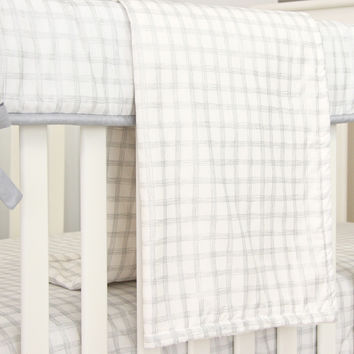 Baby Blanket | Stuart's Denim & Silver Check Crib Bedding