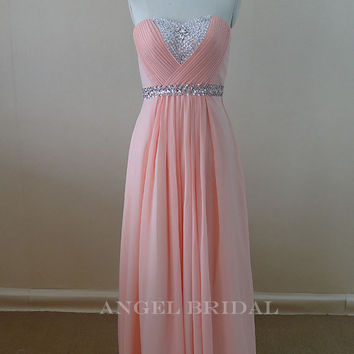 Sweetheart Sash Beaded Light Pink Evening dress Bridesmaid Dress prom Dress