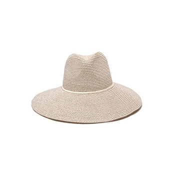 'ale by alessandra Women's Sancho Adjustable Toyo Hat with Leather Trim, White Tweed, One Size