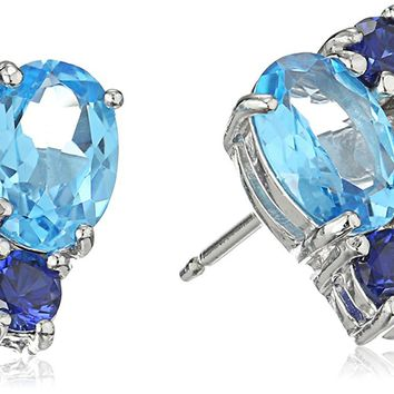 Sterling Silver Genuine Blue Topaz and Created Blue Sapphire Cluster Stud Earrings