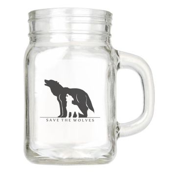 Save the Wolves Mason Jar