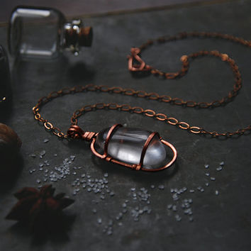 isa • clear quartz necklace • crystal cage necklace - copper crystal necklace - witch jewelry - caged crystal pendant - clear crystal