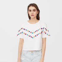 Tassels cotton t-shirt