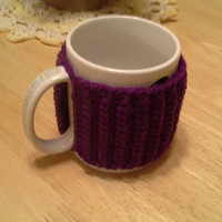 Dark Orchid Slip On Mug Cozy, easy on easy off coffee mug cozies, koozie