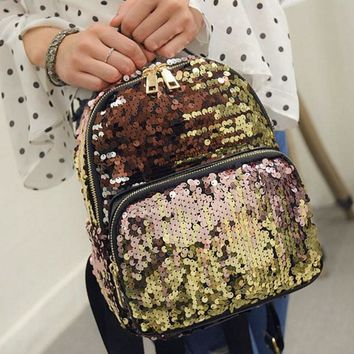 Rdywbu Women's Glitter Sequined Backpack Fashion Bling Shinning Small Backpack Preppy Travel School Bag Mochila Feminina B250
