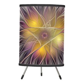 Luminous Colorful Flower, Abstract Modern Fractal Tripod Lamp
