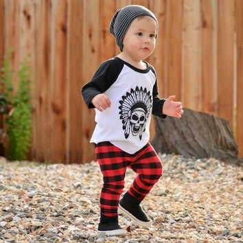 Newborn Baby Boy Girl Clothes Kids Long Sleeve Skull Printed Tops+Plaid Long Pants Autumn Spring 2PCS Outfits Set Costume 0-3Y