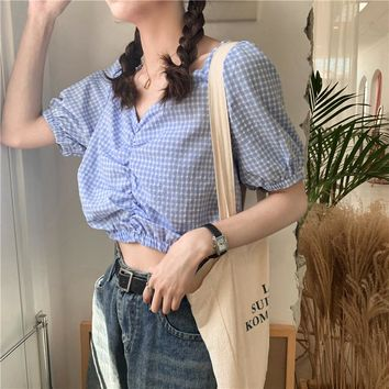 【Final Sale】French Chic Plaid Cropped Top