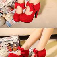 Bowknot Faux Suede Red Platform Heels