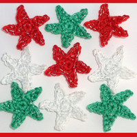 9 small Christmas crochet stars appliques and embellishments