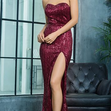 Show Me Some Love Wine Red Burgundy Strapless Sweetheart Neck High Slit Fishtail Maxi Dress