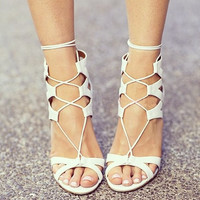 Design Stylish High Heel Suede Hollow Out Sandals = 4814665156