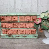 Mint Green and Coral Upcycled Jewelry Box - Vintage Jewelry Box - Music Box - Coral Decor - Minty Green Decor