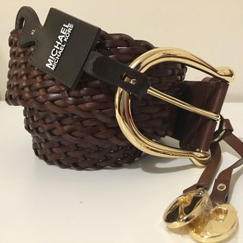 MICHAEL KORS WOMEN'S BRAIDED WOVEN CHOCOLATE BROWN LEATHER BELT SIZE XL