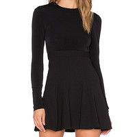 Long Sleeve Fit & Flare Dress in Black