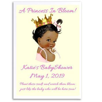 8 Princess Baby Shower Seed Favors Dark Skin