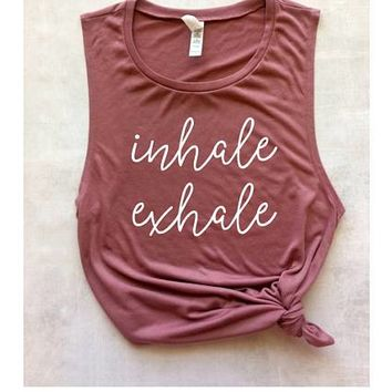 inhale exhale yoga muscle tank, graphic tank, women's workout tank, yoga tank, barre tank, running tank, weight lifting tank, summer tank